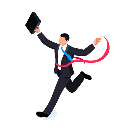 Running businessman isolated on white background. Isometric businessman is the winner of the competition. Businessman with a torn red ribbon on his chest.