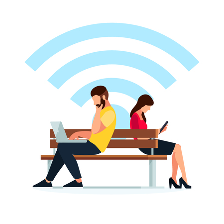 pc: Wi-Fi concept. Couple young people in a flat style of sitting on the bench. Man and woman read using a tablet pc. Vector illustration.