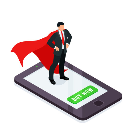 HR concept. Superhero on a smartphone screen isolated on a white background. Isometric businessman in a red cloak. On-line hiring an employee. Vector illustration.