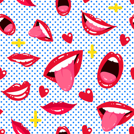 Seamless pattern of female lips. Bright background in pop art style with lips and hearts. Vector illustration.