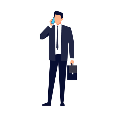 Businessman in a flat style isolated on white background. Office worker talking on the phone. Vector illustration.