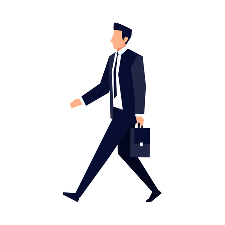 Businessman in a flat style isolated on white background. An office worker walks with a briefcase in his hand. Vector illustration.