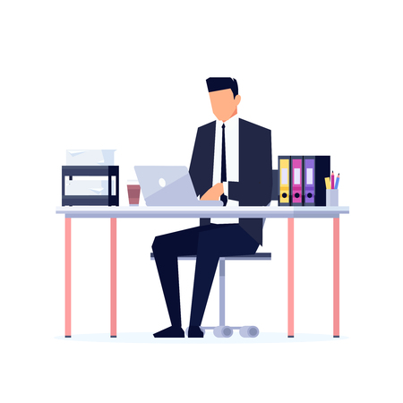 Businessman in a flat style isolated on white background. The office worker sits at the desk and works on a computer. Manager immersed in work in the workplace. Vector illustration. Иллюстрация