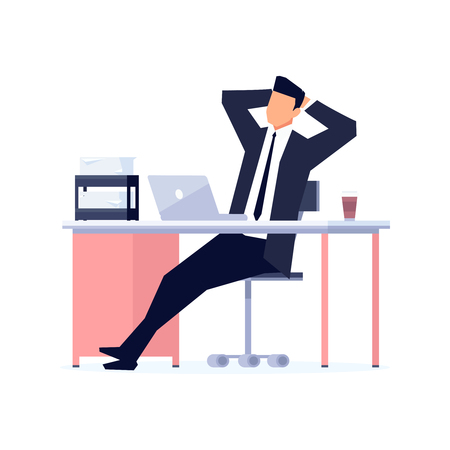 Businessman in a flat style isolated on white background. The office worker relaxes leaning back in his chair. Manager immersed in dreams in the workplace. Vector illustration.