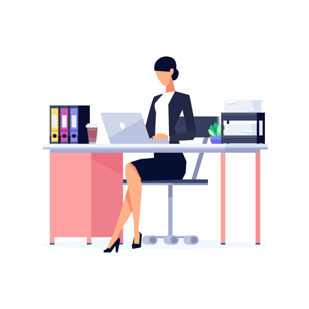 Female staff working on her desk icon.