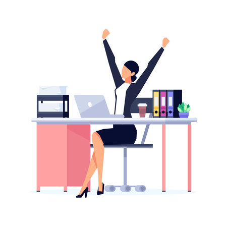 Businesswoman in a flat style isolated on white background. The office worker relaxes leaning back in his chair. Manager stretches in the workplace. Vector illustration.