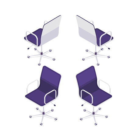 Isometric computer chair isolated on white background. 3d armchair, front view and rear view. Element of office furniture. Vector illustration.
