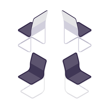 Isometric armchair isolated on white background. 3d office chair, front view and rear view. Visitor chair. Element of office furniture. Vector illustration.