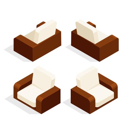 Fauteuils Luie Stoelen.Isometrische Luie Stoel Geisoleerd Op Een Witte Achtergrond 3d Fauteuil Vooraanzicht En Achteraanzicht