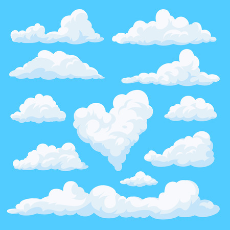 Set of clouds isolated on blue background. Fluffy clouds in the cartoon style. Daytime sky. Vector illustration. Ilustração