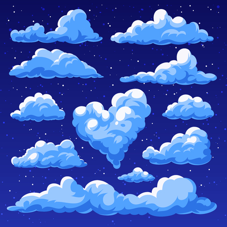 Set of clouds isolated on blue background. Fluffy clouds in the cartoon style. Night sky. Vector illustration. Vettoriali