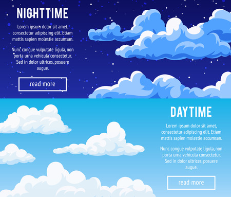 Set of horizontal banners with a cloudy sky. Templates design banners with clouds. Day and night time. Vector illustration. Ilustração