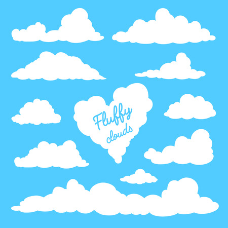 Set of clouds isolated on blue background. Silhouettes of clouds. Fluffy clouds in the cartoon style. Daytime sky. Vector illustration.