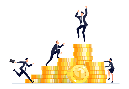 Concept of competition. Businessmen in a flat style climb on piles of gold coins. Vector illustration. Illustration