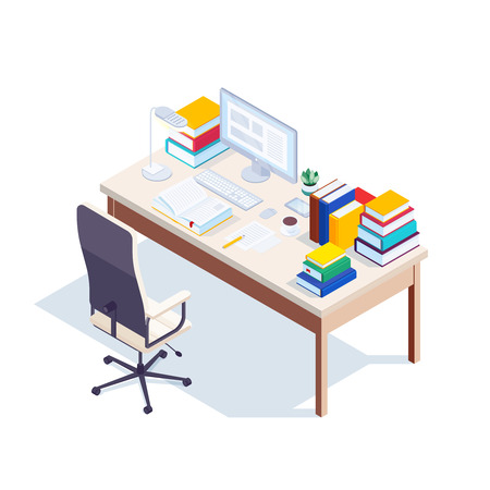 Isometric workplace isolated on white background. 3d table with piles of books, computer, armchair and lamp. Education concept. Vector illustration.