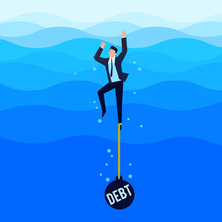Debtor. Debt concept. Businessman with a load tied to his foot drowns in the sea. Vector illustration.