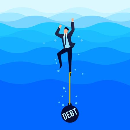 Dłużnik. Koncepcja zadłużenia. Biznesmen z ładunkiem przywiązanym do stopy tonie w morzu. Ilustracji wektorowych.