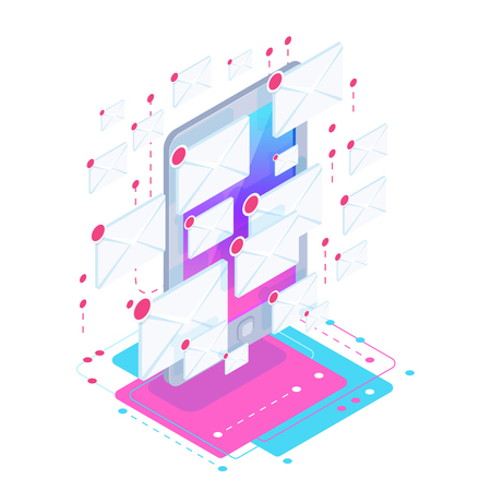 Isometric spam concept with a mobile phone full of new messages. Metaphor of aggressive advertising on the internet and e-mail vector illustration. 일러스트