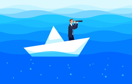Investor businessman with a telescope floating in the sea on a paper boat. Template design banner investments and search for business ideas vector illustration. Illustration