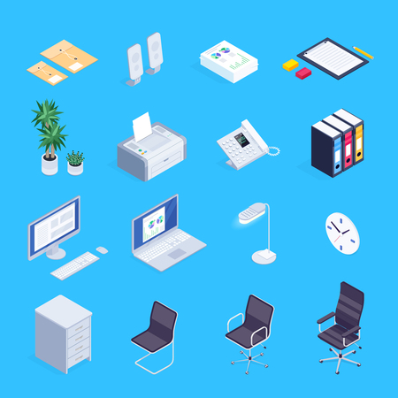 Set of isometric icons of office equipment. Illustration