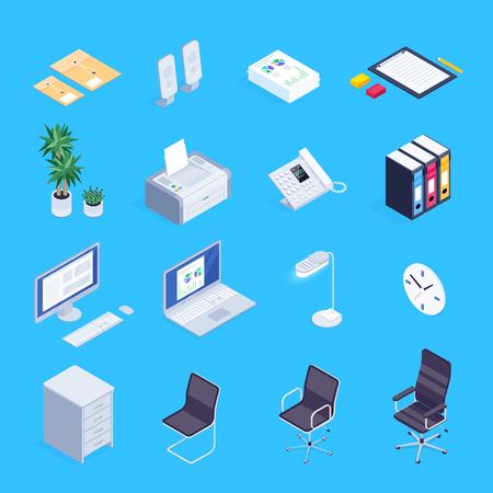 Set of isometric icons of office equipment. Illustration