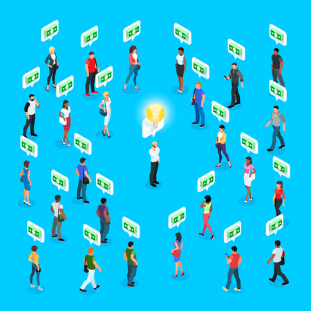 Isometric social concept. Crowdfunding. 3d crowd of people with different skin color, men and women stand around a man with a symbol of a light bulb. Vector illustration.