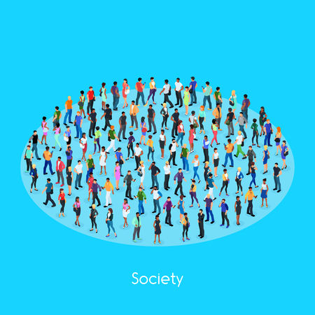 Isometric concept of society, set of isometric people with different skin color. Crowd of people, 3d men and women view front and back. Modern young people vector illustration.