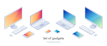 Isometric set of gadgets 3d computers, laptops and smartphones on a white background vector illustration. Illustration