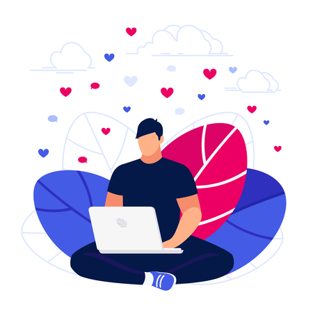 Young blogger man using laptop and collect likes in the social network. Modern composition in a flat style vector illustration. Illustration