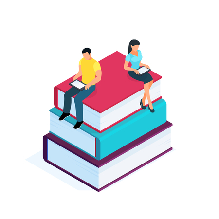Isometric pile of books isolated on white background. 3d young couple sitting on a pile of books and using PC tablets for reading. Education concept vector illustration.