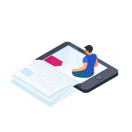 Electronic book isolated on white background. 3d e-book concept with reading man. Reading books from mobile device. Vector illustration. Illustration