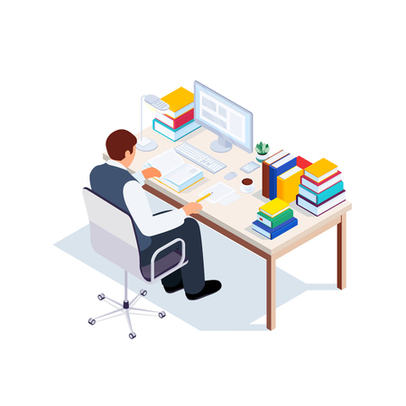 Isometric student workplace. 3d man sitting at a table and reading a book. Vector illustration. Stock Illustratie