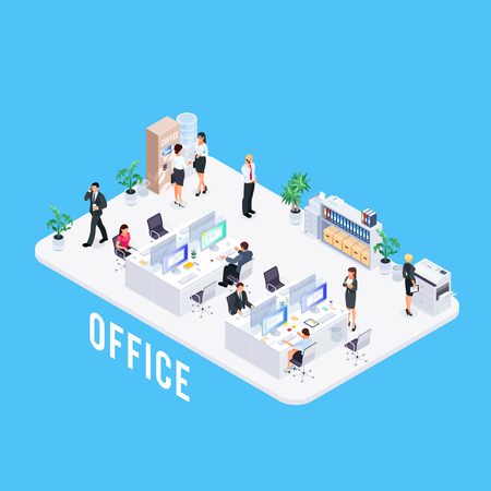 Isometric office life concept. 3d office with workers, furniture and equipment. Vector illustration.