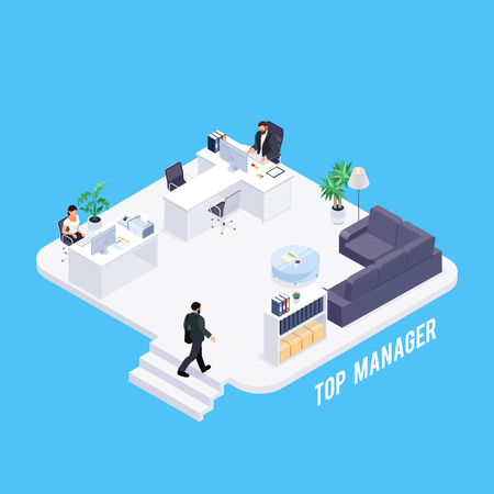 Isometric concept of office life. 3d office of the manager. Businessman working at the computer. The secretary accepts the visitor. Vector illustration. Illustration