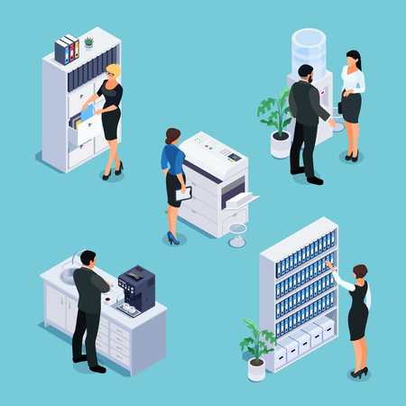Isometric office life concept. 3d office with workers, furniture and equipment. File cabinet, photocopier, cabinet with folders, water cooler, office kitchen with coffee machine. Vector illustration. Illustration