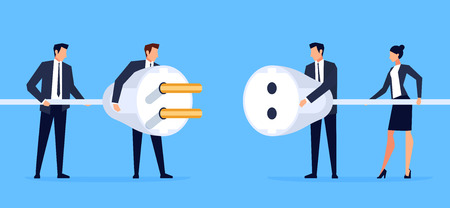 Businessmen connect electrical plugs. Business concept of partnership in a flat style. Template of a horizontal banner, site header. Vector illustration.