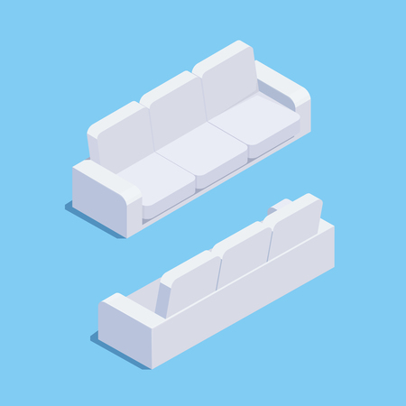 Isometric sofa isolated on blue background. 3d sofa, front view and rear view. Element of office and home furniture. Vector illustration. Vettoriali