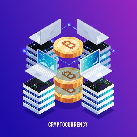 Izometryczne pojęcie wydobycia bitcoina. Zarabianie bitcoinów. Laptopy i serwery do zarabiania bitcoinów. Bitcoin 3D. Tło sieci Web. Ilustracja wektorowa.