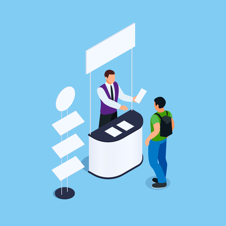 Isometric promotional booth with promoter, leaflets and rack for product. Promotional stand witn signboard. Blank mockup. Vector illustration.