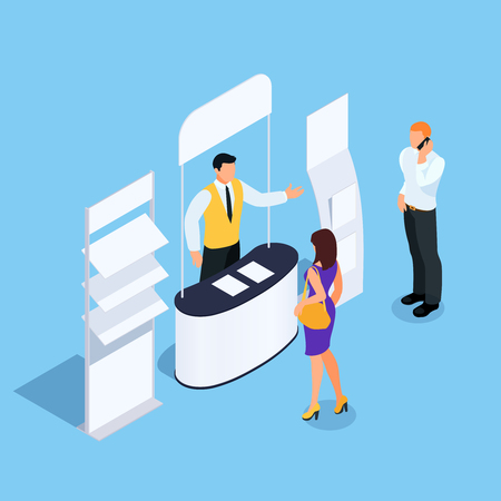 Isometric promotional stand with promoter, leaflets and customers. Booth with advertising posters and rack for product. Blank mockup. Vector illustration. Illustration