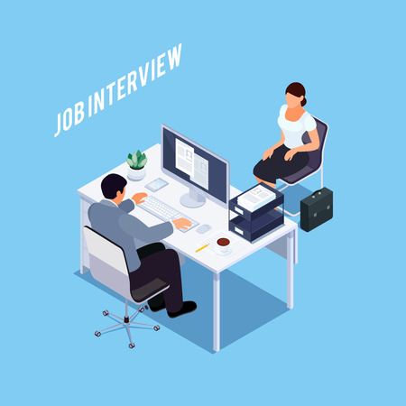 Isometric concept of interview with applicant. Hiring process. 3d briefcase. Vector illustration.