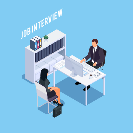 Isometric concept of hiring process. HR-manager and aspirant. 3d workplace with card index. Vector illustration. Vektorgrafik