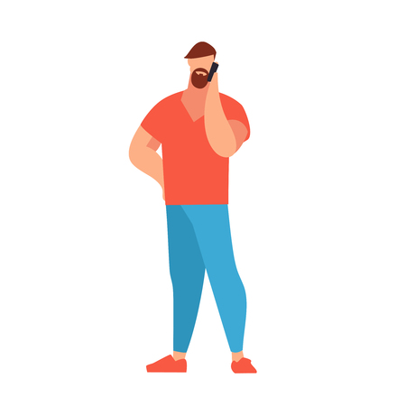 Young man with a beard and fringe in a flat style talking on phone. Casual style clothes. Man in a jeans, T-shirt. Vector illustration.