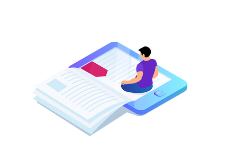 Isometric concept of e-book, paper book with bookmark in device. Person, man is sitting and reading 3d eBook. Vector illustration. Çizim