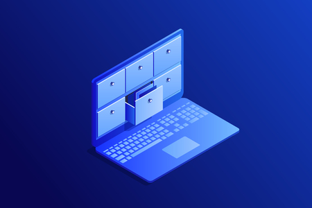 Isometric concept of database, card index in laptop. 3d computer with drawers, storage system. Vector illustration.