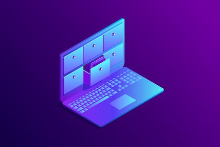 Concepto isométrico de base de datos, índice de tarjetas en computadora portátil. Computadora 3d con cajones, sistema de almacenamiento. Ilustración vectorial