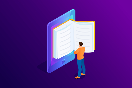Isometric concept of e-book, paper book in device. Person, man is standing and reading 3d eBook. Vector illustration.