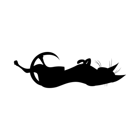 Silhouette of black playful witch cat. Cute lying on her back witch cat. Vector illustration. Ilustração Vetorial
