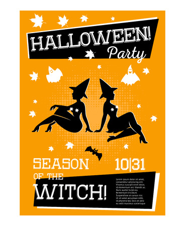 Poster with two witches for Halloween party with orange background. Sorceress in dress is sitting sideways. Celebration of halloween. Vector illustration.