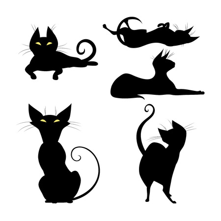 Set of silhouettes of black cat in various poses. Cute witch cat. Vector illustration.